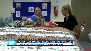 Volunteer Polk makes plastic bag mats for homeless - Video