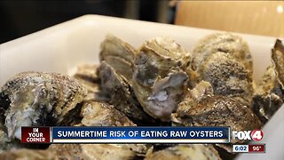 Summertime risk of eating raw oysters
