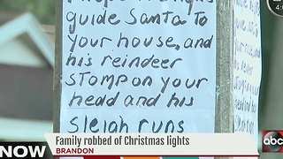 Brandon family posts signs to Christmas light thieves - Video