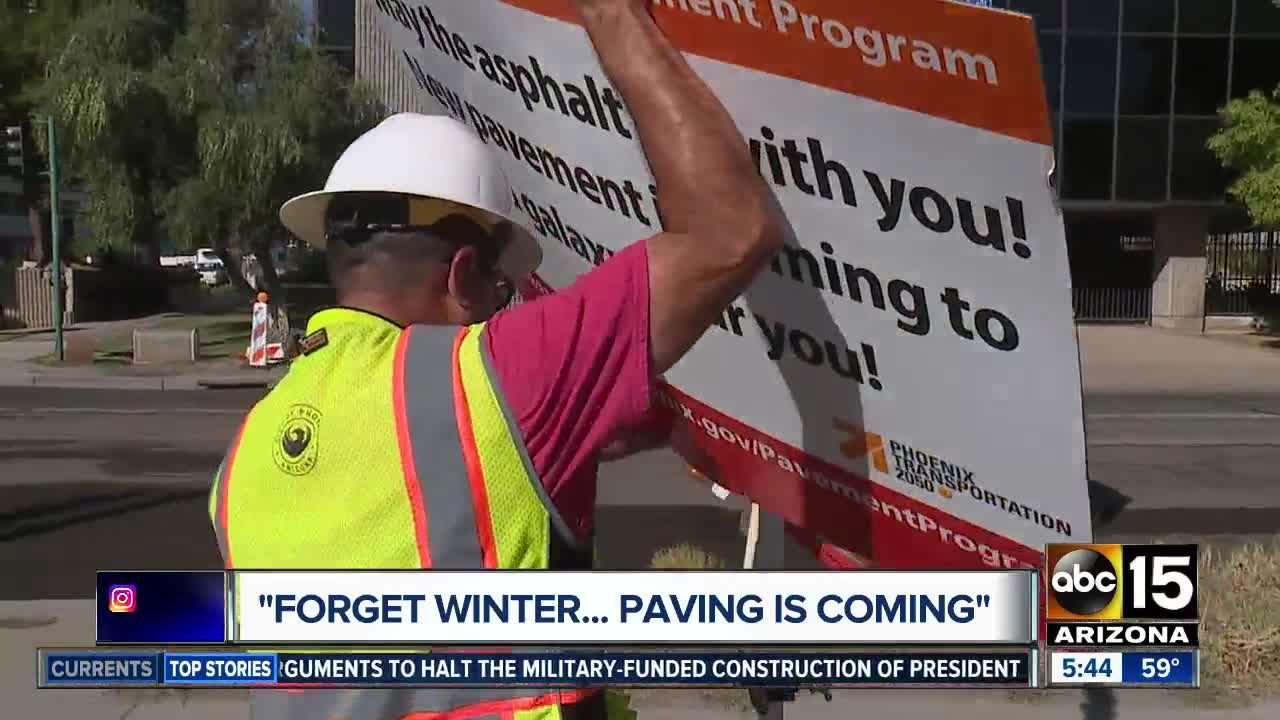 """""""Forget Winter... Paving is Coming"""": City of Phoenix using wit on the roads"""