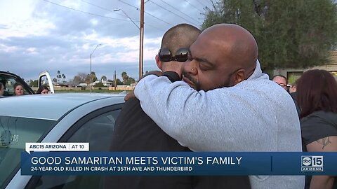 Deadly crash victim's father meets good Samaritan who held son in his final moments