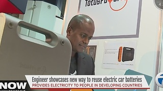 Engineer showing off new ways to reuse electric car batteries - Video