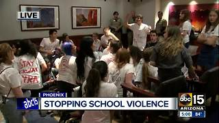 Students protesting gun violence in the Valley