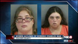 Two women accused of robbing disabled man