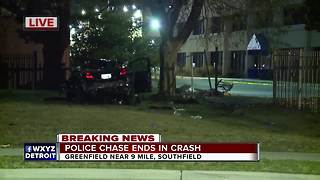 High-speed police chase ends with crash in Southfield - Video