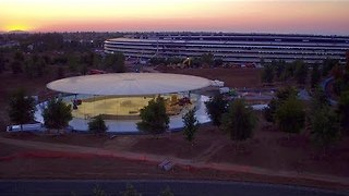 Drone Videos Show Steve Jobs Theater At New Apple Campus - Video