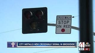 New crosswalk and traffic signal now in Brookside - Video