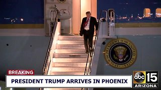 President Trump arrives in Phoenix ahead of scheduled rally Friday - Video