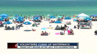 Tampa Bay area residents clean beaches after 4th of July