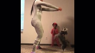 Mom, daughter & doggy have pajama dance party - Video