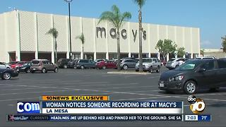 Woman notices someone recording her at Macy's - Video
