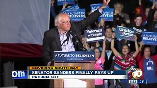Senator Sanders finally pays for rally - Video
