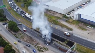Drone Footage Shows Truck Burning South of Brisbane - Video