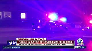 3 in custody after wrong way police chase