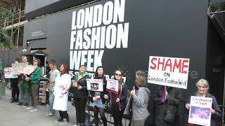 Anti-fur protesters demonstrate at London Fashion Week