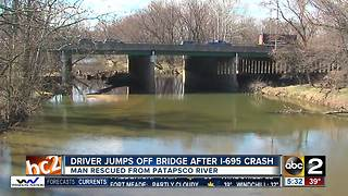 Driver Jumps off Bridge after Crash - Video