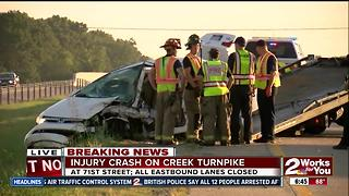 Injury crash on Creek Turnpike causing Eastbound lanes closed - Video