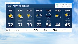 Friday is sunny with highs in the low 70s