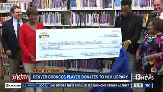 Denver Broncos player Brandon Marshall donates to North Las Vegas Library - Video