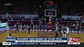 Strong second half for Trae Young as Oklahoma defeats #8 Texas Tech, 75-65