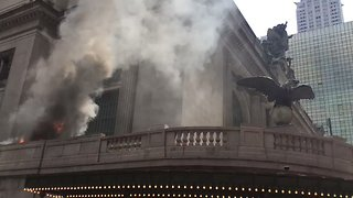 Vehicle Fire Near Grand Central Station In New York - Video