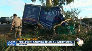 Pickup hits Goodwill truck on I-5