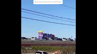 Trump Trucks Flagging Surround Biden Harris Bus On Highway!!