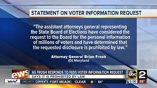 Maryland Attorney General says voting disclosure is barred by law
