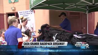 Free backpacks handed out to 100 students in Casa Grande