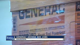 Generac adding 400 jobs - Video