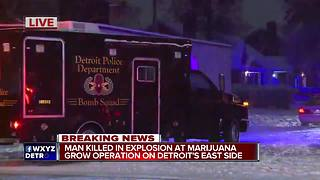 One dead in explosion at possible Detroit marijuana grow operation - Video