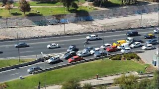 Thoughtless driver causes massive tailback on freeway