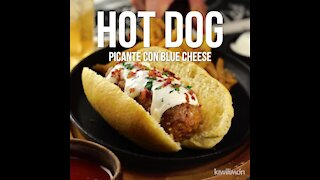 Spicy Hot Dog with Blue Cheese