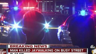 Man killed jaywalking on busy street - Video
