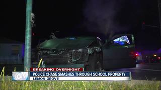 High-speed pursuit suspects crash through school property in Lemon Grove - Video