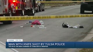 Man with knife shot by Tulsa police