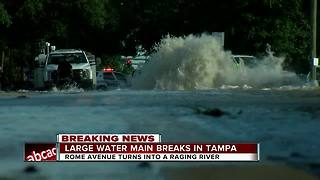 Massive water main break closes portion of N. Rome Avenue in Tampa - Video