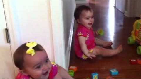 Twin Babies Laughing Hysterically At Dog Performing Tricks