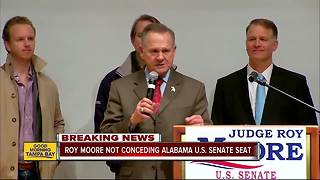 Roy Moore not conceding US Senate race, hints at recount - Video
