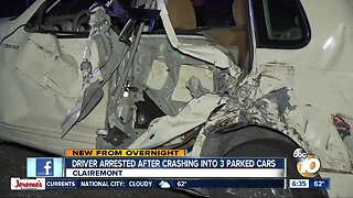 Driver crashes into three parked cars in Clairemont