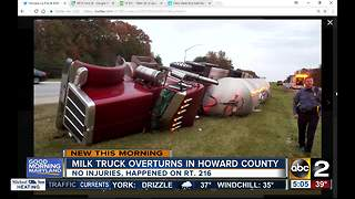 Milk truck overturns on Rt. 216 in Howard County - Video