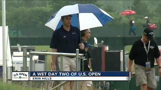 Wet start to day two of US Open Championship at Erin Hills - Video