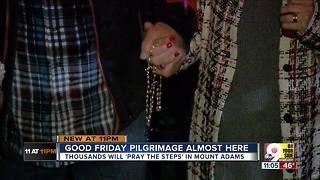 Pilgrims prepare to pray the steps at Holy Cross Immaculata - Video