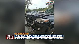 Woman says Toyota pickup accelerated into store - Video