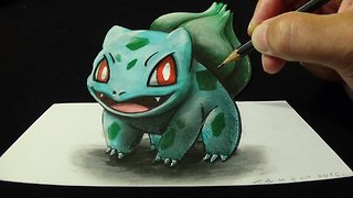 Drawing 3D BULBASAUR #001, Optical Illusion - Video
