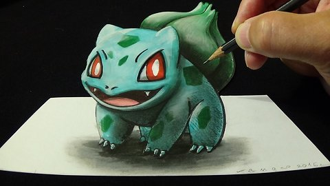 Drawing 3D BULBASAUR #001, Optical Illusion