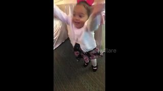 Baby girl gets extremely excited for father-daughter dance
