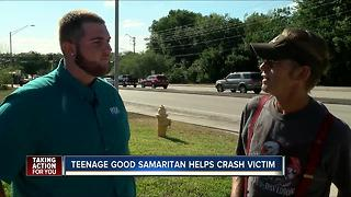 Teenage Good Samaritan helps crash victim - Video