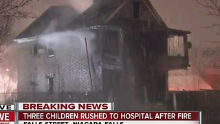 Five people brought to hospitals after fire in Falls - Video