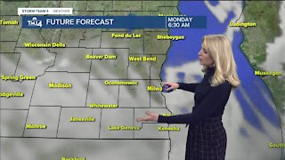 Cloudy Monday with chance of scattered snow showers